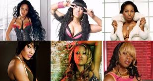 female rapper collage